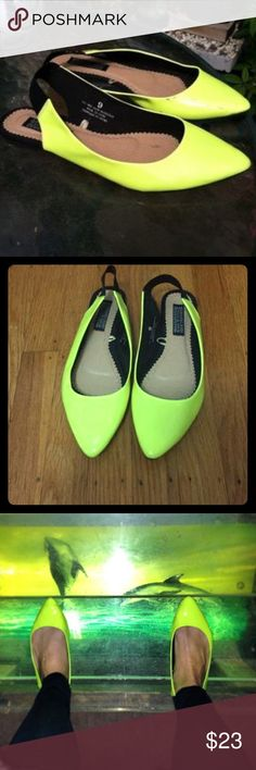 Deena & Ozzy, Neon Yellow, Stretch Slingback Flats Deena & Ozzy, Awesome Neon Yellow 🌕🔥Strecthy Slingback Flats. Super Comfortable & Funky.  Size 7, but fits 7.5 as well. Worn Once. Like Brand New. 💛🖤🌇💥 Deena & Ozzy Shoes Flats & Loafers