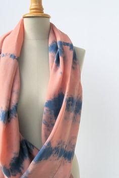 tiedyed scarf  infinity loop in peach and blue