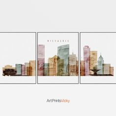 Milwaukee set of 3 prints Milwaukee triptych 3 piece wall art Milwaukee skyline watercolor large art travel decor gift ArtPrintsVicky by ArtPrintsVicky Milwaukee Skyline, Chicago Skyline, World Map Art, World Map Poster, Travel Posters, Map Posters, 3 Piece Wall Art, Watercolor Map, Skyline Art
