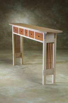 FOR LIMITED TIME: SALE PRICE ON :My original Prairie Hall Table, maple and mahogany, 5 functional, shallow drawers; perfect for narrow hallways; {narrow consoles, sofa tables, hall tables}  contact me via email thru my website, www.chrishorney.com