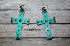 Turquoise Painted Bronze Metal Cross Earrings with Topaz Crystals www.gugonline.com Price:$24.95