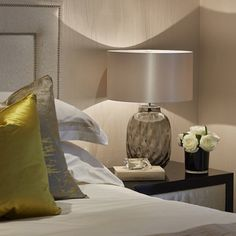 Bedside detail with a pop of gold #bedroom #interiordesign #interiorstyling…
