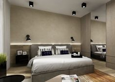 indirect-lighting-led-bedroom-wall-behind-bedded-wood-wall panels - Home Page Wall Behind Bed, Led Wand, Indirect Lighting, Wood Panel Walls, Wood Wall, Master Room, Headboards For Beds, Modern Kitchen Design, Bedroom Wall