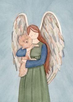 Pomeranian cradled by angel / Lynch signed folk art print by watercolorqueen on Etsy