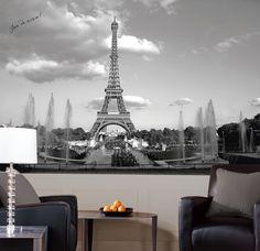 Eiffel Tower Chair Rail Prepasted Mural Wall Mural at AllPosters.com
