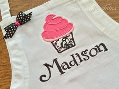 Personalized Apron for Girls with Black and Pink Appliqued Cupcake; Name Apron; Child's Baking Apron by elainestiarasntutus on Etsy