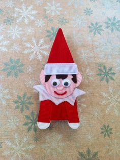 Elf On A Shelf Christmas ribbon sculpture hair clip. $6.50, via Etsy.