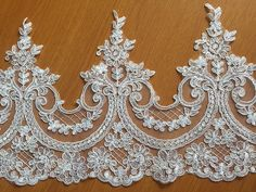 SALES!!! Sell By Yard Alencon Lace Trim, White Floral Alencon Lace, Bridal Wedding Veil Ivory Lace Trimming
