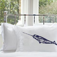 Navy Blue Narwhal whale White Nautical Pillowcase cover pillow case fish unicorn