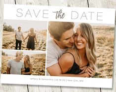 Wedding Full Image Save the Date Card with Photo Printable Rustic Save the Date Template Full Photo Collage Save the Date Postcard Template – The Best Ideas Engagement Photo Poses, Engagement Photo Inspiration, Engagement Couple, Engagement Pictures, Outdoor Engagement Photos, Rustic Save The Dates, Wedding Save The Dates, Save The Date Postcards, Save The Date Cards