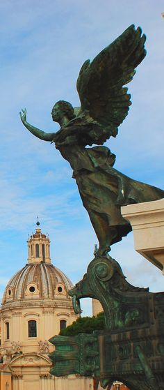 An angel flying over Rome.