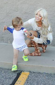 A light sweater for summer nights, some fun detailed shorts, and the unique summer sandal tha. Mother Son Pictures, Gal 3, Cara Loren, Cool Blonde, Family Outfits, Summer Essentials, Pretty Hairstyles, Closets, Her Hair