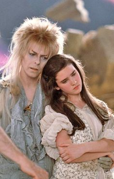 Jennifer Connelly & David Bowie behind the scenes. Labyrinth