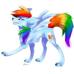 Thank god. LAST MAIN PONY WOLF GUYS. Other charactars to be wolfified - lyra+bonbon spike derpy cmc trixie diamond tiara/silver spoon carrot top colgate. Rainbow Dash, Pokemon, Little Poni, Mlp Fan Art, She Wolf, My Little Pony Friendship, Twilight Sparkle, Fluttershy, Anime