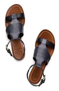 Tory Burch Perforated Logo Flat Sandal in Navy