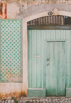 Travel Photograph, Fine Art Travel Photograph, Travel Photo Mint door photo taken in Lisbon, Portugal, where I live. Lisbon is one of the most The Doors, Windows And Doors, Front Doors, Verde Vintage, Wall Collage, Wall Art, Shabby Vintage, Vintage Doors, Antique Doors
