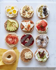 Bagels 8 Ways - Bagel doesn t have to boring Top with olives eggs avocado cheese tomatoes cucumber and so much more Brunch recipes breakfast easy breakfast what to put on bagels Bagel Toppings, Bagel Bar, Bagel Shop, Breakfast Bagel, Bagel Sandwich, Breakfast Snacks, Breakfast Ideas, Healthy Bagel, Healthy Breakfast Recipes