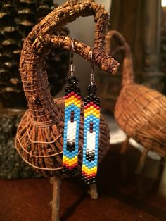 DeliCa beaded feather Earrings No.2