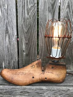Vintage Wooden Shoe Form Table Light