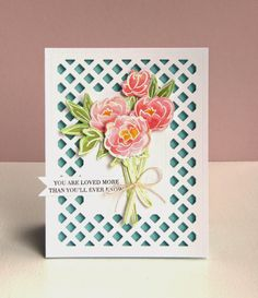 Kara Vrabel for WPlus9 featuring Pretty Peonies Stamps and Dies and the Lattice Frame Die