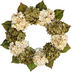 Gorgeous Green & Cream Hydrangea Wreaths by HomeHearthGarden