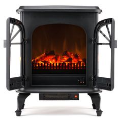Features:  -Stunning traditional design with ultra-realistic flame and faux doors.  -Compact design great for all indoor spaces including corners.  -Quiet, fan-forced heater with high/low settings for