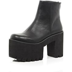 94b6d3799b5 River Island Black cut out cleated flatform ankle boots ( 43) ❤ liked on  Polyvore