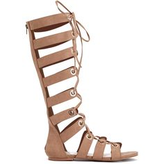 ShoeDazzle Flat Sandals Laurisa Womens Beige/Brown ❤ liked on Polyvore featuring shoes, sandals, flat sandals, gladiator sandals, lace up sandals, beige sandals and evening shoes