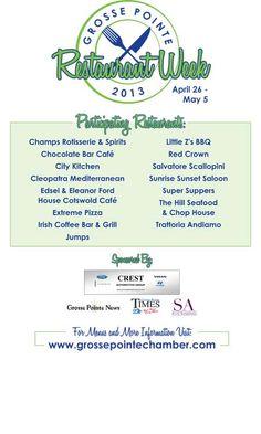 Restaurant week in Grosse Pointe starting 4/26