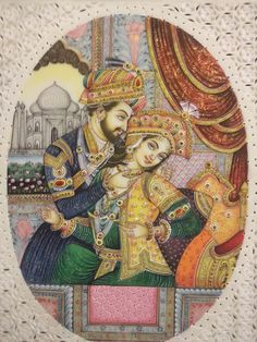 Shah Jahan and Mumtaz Mahal Mughal Miniature Paintings, Mughal Paintings, Indian Art Paintings, Classic Paintings, Art And Illustration, Indian Women Painting, Mughal Empire, Fabric Painting, Marble Painting