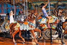 """NEW YORK #84"" By Socrates Rizquez 2020 - Enamels on aluminium painting. Pintado con esmaltes sobre aluminio. 123 x 83 cm. Thanks to my eyes on NYC Eduardo Fermín José. Janes Carousel, Original Paintings, Original Art, Realism Art, Amusement Park, Painting For Kids, Popular Culture, Impressionism, Buy Art"