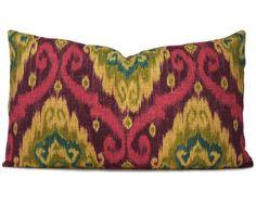 Iman Purple Ikat Decorative Lumbar Pillow Cover - Accent Pillow - Throw Pillow - Designer Pillow - Pillow Case