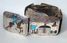 Navajo Sterling Silver Storyteller Belt 9 panels Multi Stone Inlay Becenti Signed Vintage by MagpieAntiques on Etsy