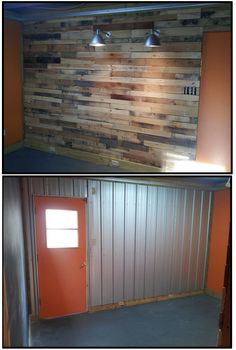Pallet Wall / love the industrial look of the metal wall as well Pallet Walls, Pallet Furniture, Wood Walls, Pallet Designs, Church Design, Pallet Creations, My Living Room, Home Projects, Cool Ideas