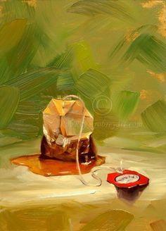 Teabag in Green  5x7 Print of Original Oil Painting by robreyart,