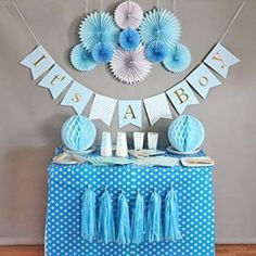 Baby Shower Decorations for Boy It's A Boy Banner Tissue Paper Fans Honeycomb Paper Balls Tassels Blue Gold Foil Hanging Party Supplies Baby Shower Azul, Idee Baby Shower, Baby Shower Backdrop, Baby Shower Cakes, Baby Shower Gifts, Shower Set, Baby Shower Banners, Baby Shower Boys, Boy Baby Showers