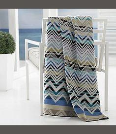 "Beach Towel Oversized Kassatex Organic Cotton 40"" X 70"" Mistral Chevron Tan Blue Plum Sand Kassatex"