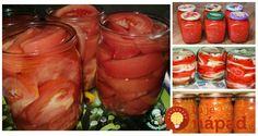 Zbierka perfektných receptov z paradajok, ktorých je práve teraz v záhrade neúrekom. Vyskúšajte z nich napríklad výborný šalát, alebo jednoducho ich naložte len do soli a uchováte tú úžasnú chuť a čerstvosť. Toto sú recepty, Pickles, Cucumber, Mason Jars, Party, Food, Gardening, Lawn And Garden, Mason Jar, Parties