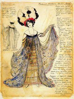 León Bakst - Design for a Decadent Dress for Mrs. Legar (1910)
