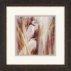 Seaside Egrets by Heighton Framed Painting Print