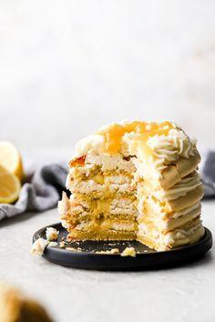Lemon Macaron Recipe, Lemon Macarons, Macaron Cake, Macaron Cookies, Cream Cheese Eggs, Cream Cheese Frosting, Gel Food Coloring, Lemon Curd, Vegetarian Cheese