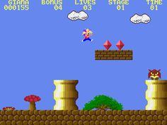 Great Giana Sisters, Commodore Amiga version, 1987. A very playable, addictive wink to Super Mario Brothers.