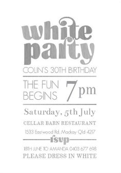 White Party invitation Places to Visit Pinterest Pictures