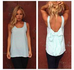 Striped bow back shirt
