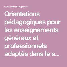 Orientations pédagogiques pour les enseignements généraux et professionnels adaptés dans le second degré - MENE0900316C - Ministère de l'Éducation nationale, de l'Enseignement supérieur et de la Recherche