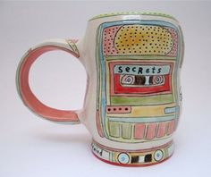 Could this softly colorful mug be done with underglaze chalks? -- from Forage Studios. (Mariko Patterson.)