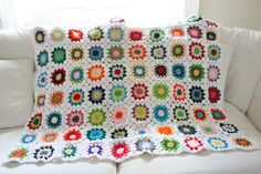 One Dog Woof: Colorful Squares Crochet Quilt