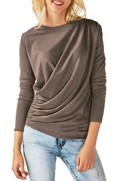 Womens Coffee Long Sleeve Draped Round Neck T Shirt