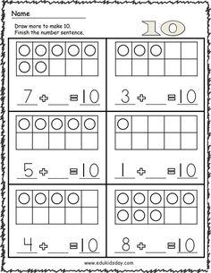 Free Addition Worksheets Math for Kindergarten - Edukidsday.com