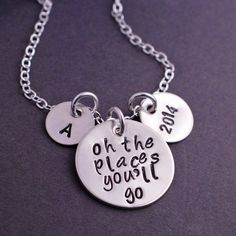 Oh the Places You'll Go Necklace Graduation Gift by georgiedesigns